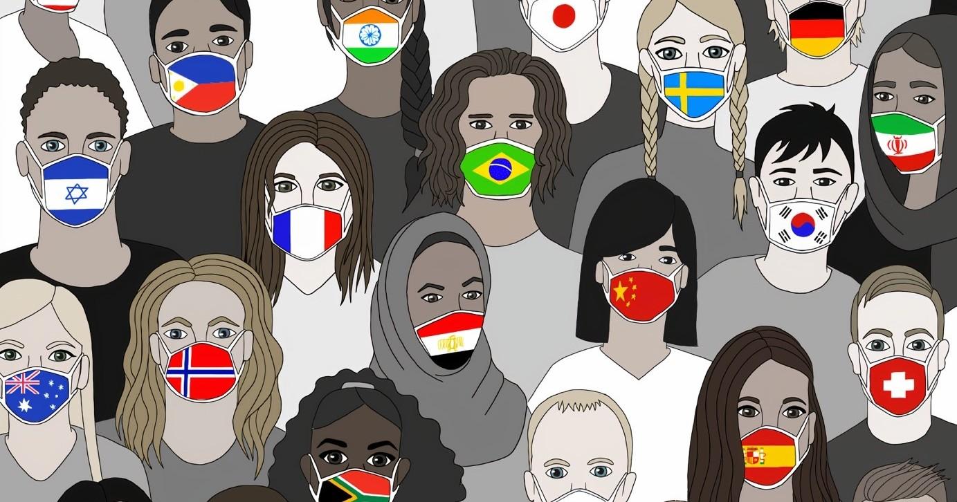 Zeichnung: viele verschiedene Menschen tragen Mund-Nasen-Schutzmasken mit Landesflaggen